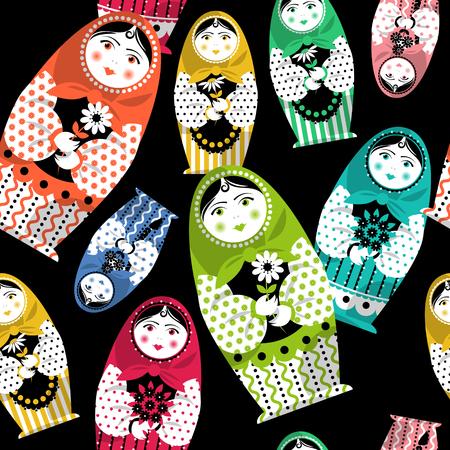 matrioska: Russian traditional handmade doll. Matryoshka. Russian souvenir. Seamless background pattern. Vector illustration Illustration