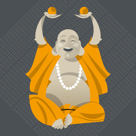 Feng Shui talisman. Hotei. Happy Buddha. Vector illustration