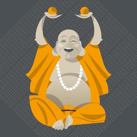 Talismán Feng Shui. Hotei. Buda feliz. Ilustración vectorial