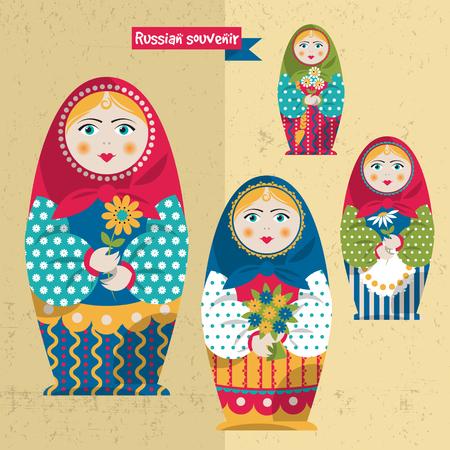 muñecas rusas: Muñeca hecha a mano tradicional rusa. Matryoshka. Recuerdo ruso. Ilustración vectorial Vectores