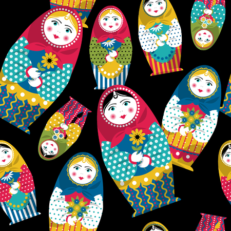 muñecas rusas: Muñeca hecha a mano tradicional rusa. Matryoshka. Recuerdo ruso. Modelo inconsútil del fondo. Ilustración vectorial