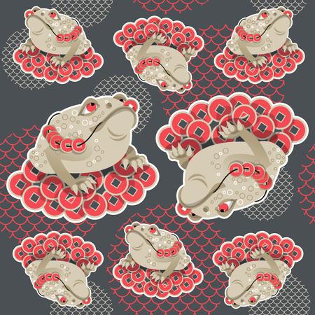 talismán: Feng Shui talisman. Money Frog. Seamless background pattern. Vector illustration