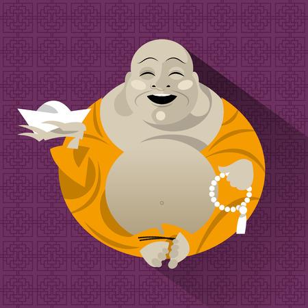 talisman: Talismán Feng Shui. Hotei. Buda feliz. Ilustración vectorial