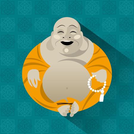 Feng Shui talisman. Hotei. Happy Buddha. Vector illustration