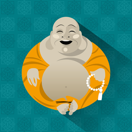 smiling buddha: Feng Shui talisman. Hotei. Happy Buddha. Vector illustration