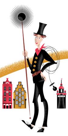 Chimney sweep. Old city. Vector illustration Illusztráció