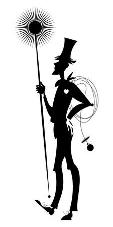 Schoorsteenveger. Zwart en wit. vector illustratie