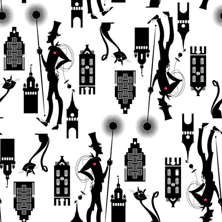 sweep: Chimney sweep. Seamless background pattern. Vector illustration Illustration