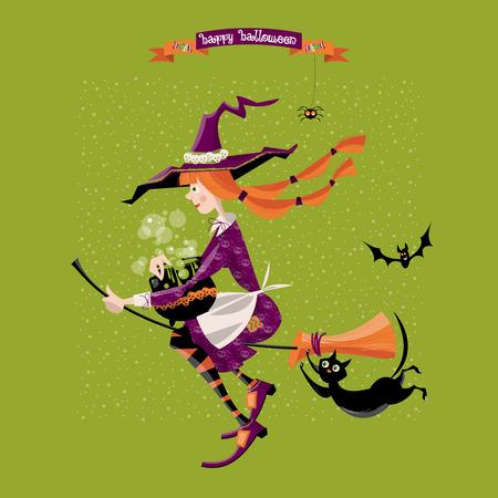 Kleine heks op een bezem met een ketel en een kat. Fijne Halloween. Vector illustratie