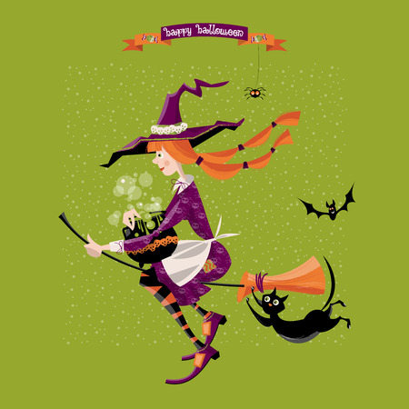 Little witch on a broom with a cauldron and a cat. Happy halloween. Vector illustration