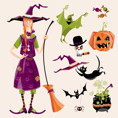 czarownica: Zestaw tradycyjnych elementów Halloween. Czarownica z miotła; kocioł, kot, kapelusz, bat, słodycze, ghost, Pająk, dynia, czaszki. ilustracji wektorowych