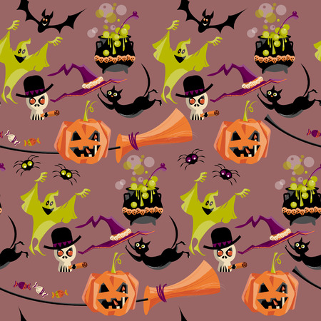 Set of traditional Halloween elements. Broom, cauldron, cat, hat, bat, candy, ghost, spider, pumpkin, skull. Seamless background pattern. Vector illustration Stock Illustratie
