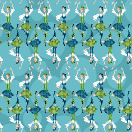 scot: Dancing scottish girls in national clothes. Scottish Highland Dancing. Seamless background pattern. Vector illustration Illustration