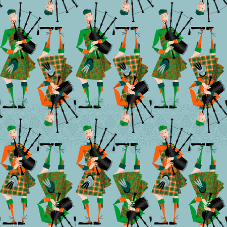 Scottish Bagpiper in uniform. Seamless background pattern. Vector illustration Stock Illustratie