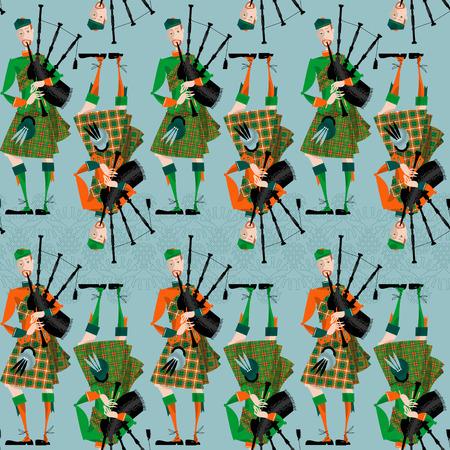 scot: Scottish Bagpiper in uniform. Seamless background pattern. Vector illustration Illustration