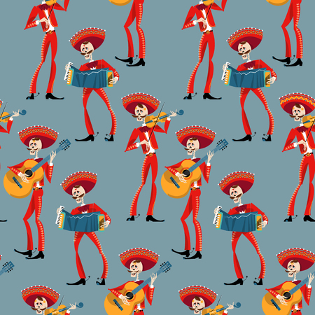 Dia de Muertos. Mariachi band of skeletons. Mexican tradition. Seamless background pattern. Vector illustration