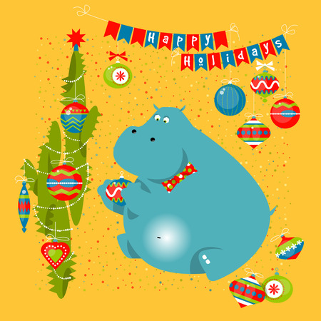 hippo with cactus and christmas decorations happy holidays vector illustration stock vector