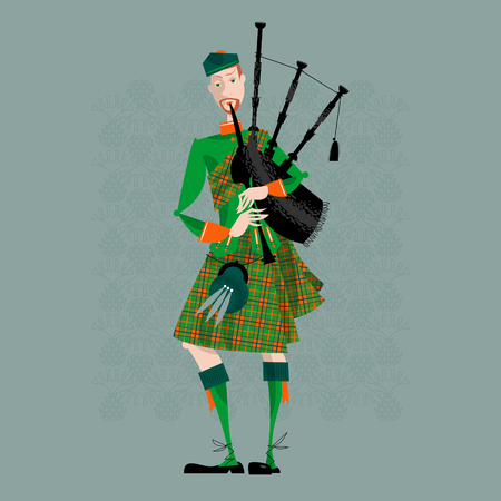 Scottish Bagpiper in uniform. Scottish tradition. Vector illustration