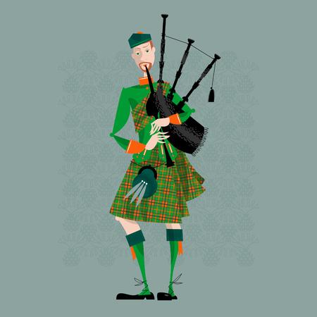 scot: Scottish Bagpiper in uniform. Scottish tradition. Vector illustration