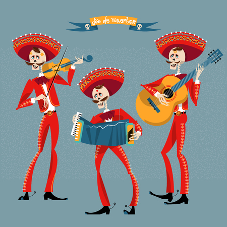 cartoon hat: Dia de Muertos. Mariachi band of skeletons. Mexican tradition. Vector illustration Illustration