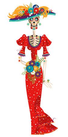 La Calavera Catrina. Elegant Skull. Dia de Muertos. Mexican tradition. Vector illustration