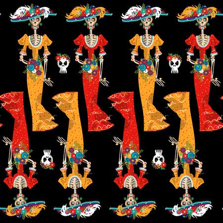 skull: La Calavera Catrina. Elegant Skull. Dia de Muertos. Seamless background pattern. Vector illustration Illustration