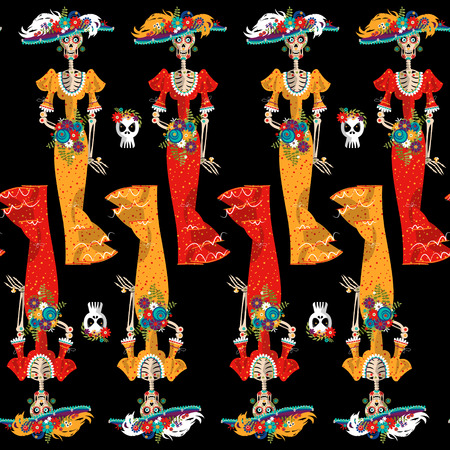 La Calavera Catrina. Elegant Skull. Dia de Muertos. Seamless background pattern. Vector illustration Illustration