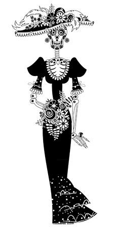 La Catrina. Elegant Skull. Dia de Muertos. Mexicaanse traditie. Vector illustratie