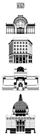 secession: Sights of  Vienna. Austria. Europe. Vector illustration Illustration