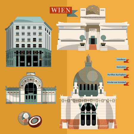 austria: Sights of Vienna. Austria. Europe. Vector illustration