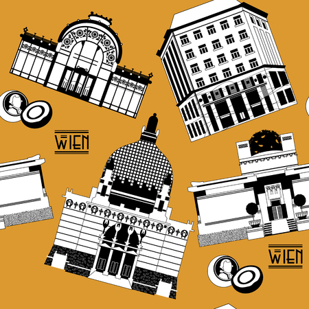 Sights of  Vienna. Austria. Europe. Seamless background pattern. Vector illustration
