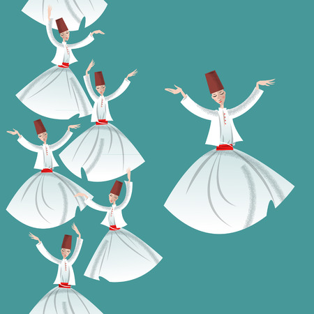 sufism: Whirling Dervishes. Seamless background pattern. Vector illustration Illustration