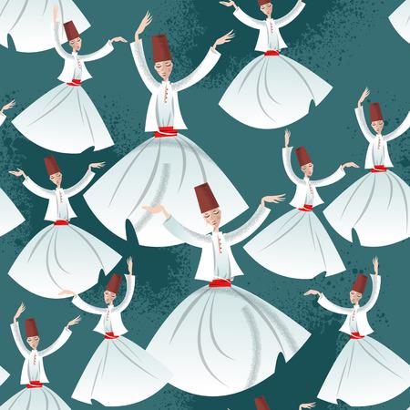 旋舞教団。シームレスな背景パターン。ベクトル図  イラスト・ベクター素材
