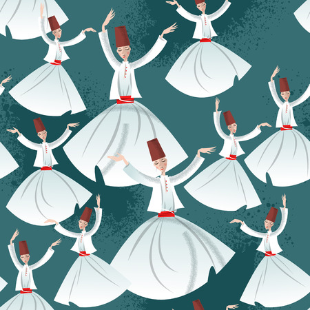 Whirling Dervishes. Seamless background pattern. Vector illustration Çizim