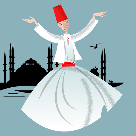 muslim fashion: Whirling Dervish. Istanbul. Vector illustration