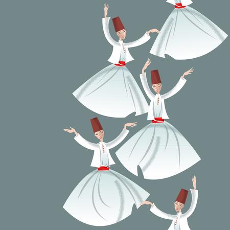 Whirling Dervishes. Seamless background pattern. Vector illustration Illustration