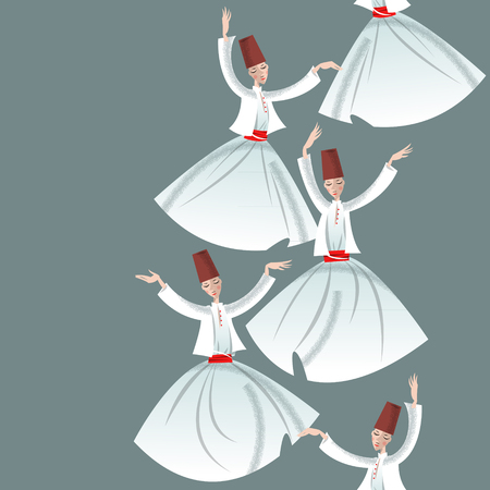 muslim fashion: Whirling Dervishes. Seamless background pattern. Vector illustration Illustration