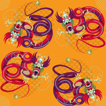 year of the dragon: Chinese New Year. Dragon dance. Seamless background pattern. Vector illustration