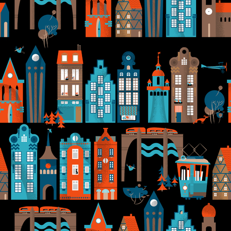 vintage landscape: Urban landscape. Seamless background pattern. Vector illustration