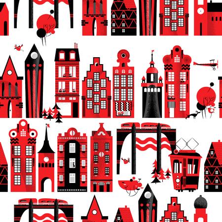urban background: Urban landscape. Seamless background pattern. Vector illustration