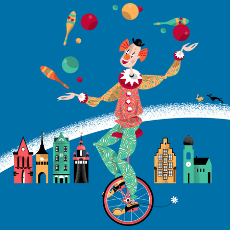 juggle: Clown on unicycle juggling with balls and pins. Vector illustration Illustration