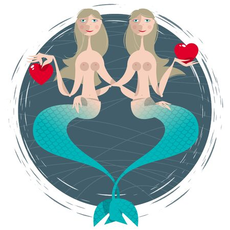 fishtail: Mermaids in love holding hearts. St. Valentine's Day. Vector illustration