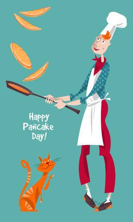 Happy Pancake Day! Cute cook boy tosses pancake in frying pan. Vector illustration