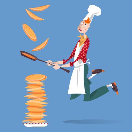 hot cakes: Muchacho lindo cocinero lanza panqueque en una sartén. Feliz Día de la crepe! Ilustración vectorial Vectores