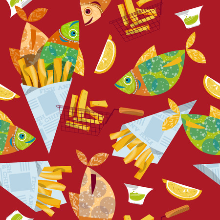 Fish and chips. Seamless background pattern. Vector illustration
