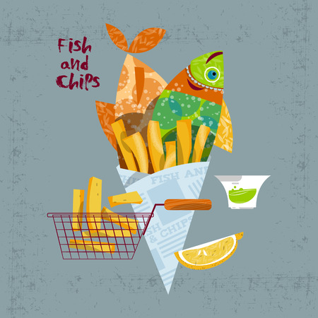 Fish and chips. British fast-food. Vector illustration Çizim