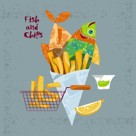 fish and chips: Pescado y papas fritas. Comida rápida británico. Ilustración vectorial