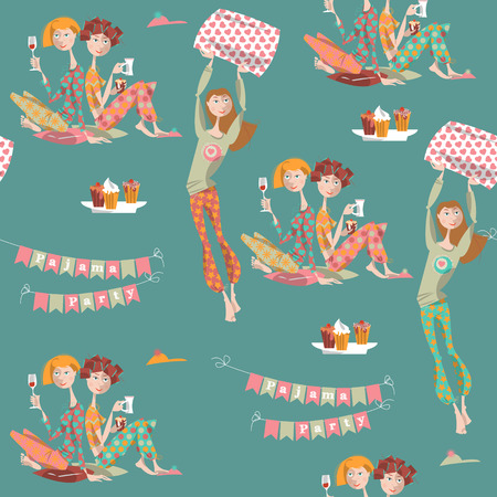 sleepover: Pajama party.  Seamless background pattern. Vector illustration
