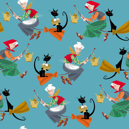 glad: Elderly women on broomsticks with cat and kettle. Scandinavian Easter. Glad Pask! Seamless background pattern. Vector illustration
