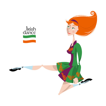Dancing Irish girl in traditional dress. St. Patricks Day. Vector illustration